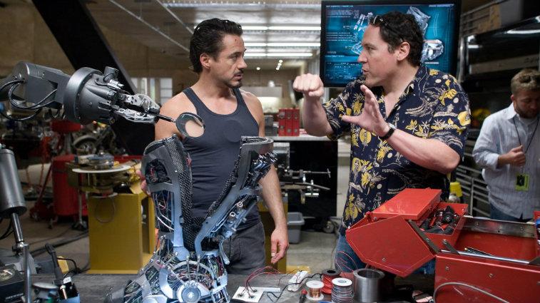Robert Downey Jr. and Jon Favreau on Iron Man set