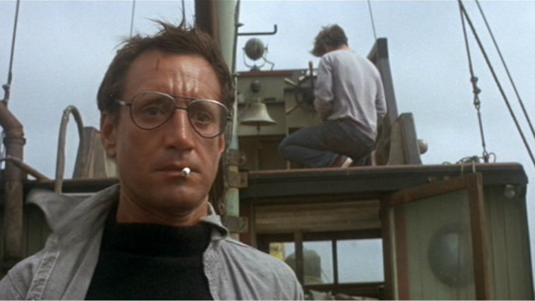 Roy Schneider with a cigarette hanging out of his mouth in Jaws