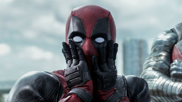 'Deadpool' making a surprised facial expression.