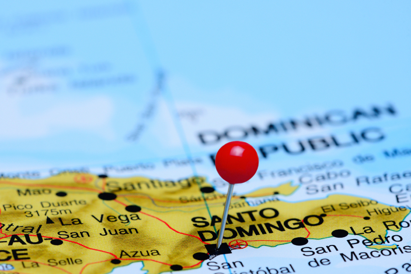 map pointing out Santo Domingo with a pin