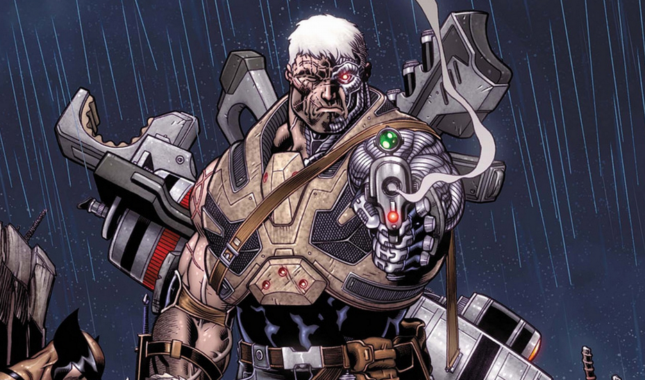 An image of a white-haired Cable firing a gun in the comics