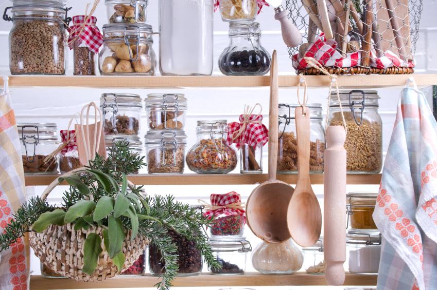 food items on a food shelf