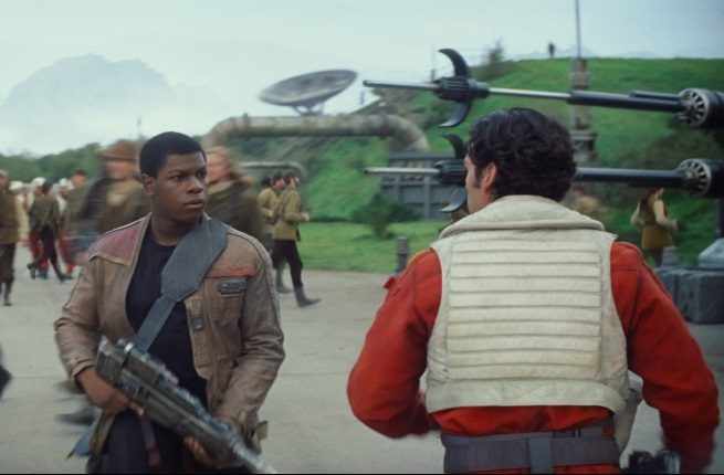 Finn (John Boyega) and Poe Dameron (Oscar Isaac) in Star Wars: The Force Awakens