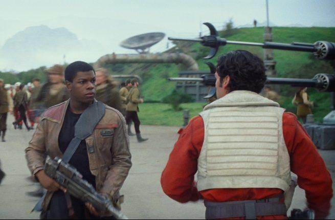 Finn (John Boyega) and Poe Dameron (Oscar Isaac) in Star Wars: The Force Awakens