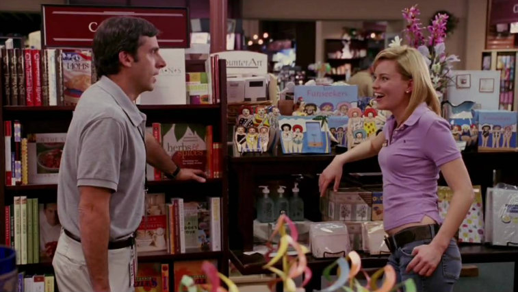 Steve Carell and Elizabeth Banks in The 40-Year-Old Virgin
