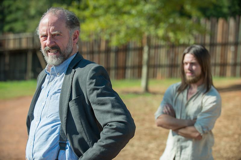 Tom Payne as Jesus and Xander Berkeley as Gregory - The Walking Dead _ Season 6, Episode 11 - Photo Credit: Gene Page/AMC