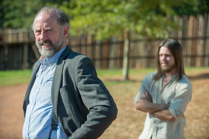 Tom Payne as Jesus and Xander Berkeley as Gregory - The Walking Dead _ Season 6, Episode 11 - Photo Credit: Gene Page/AMC