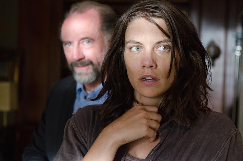 Lauren Cohan as Maggie Greene and Xander Berkeley as Gregory - The Walking Dead _ Season 6, Episode 11 - Photo Credit: Gene Page/AMC