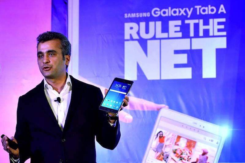 Samsung's VP of Marketing during a presentation