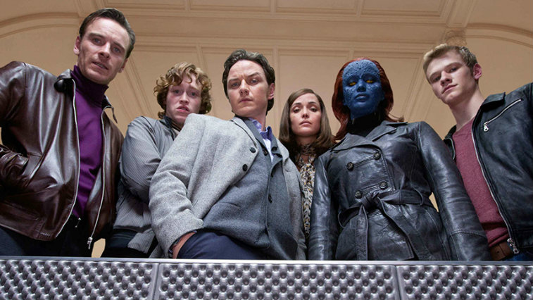 The X-Men gathered on a balcony, looking straight down into the camera
