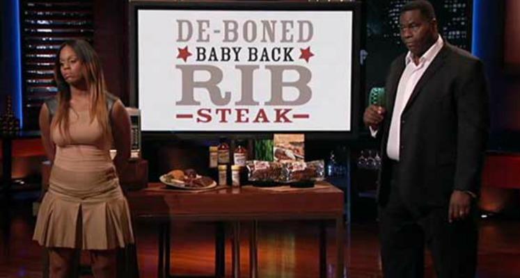 Al and Brittani Barker presenting ribs on Shark Tank.