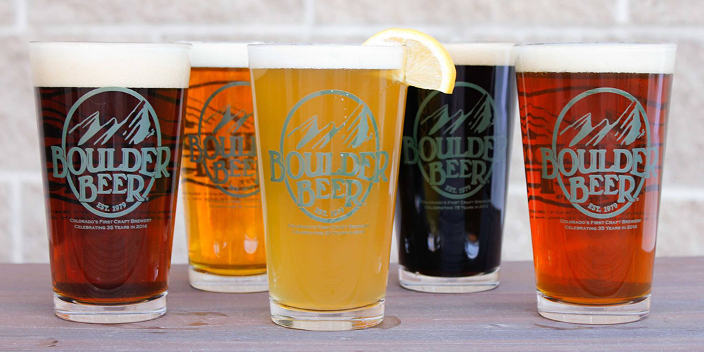 pint glasses filled with beer from Boulder Beer Company