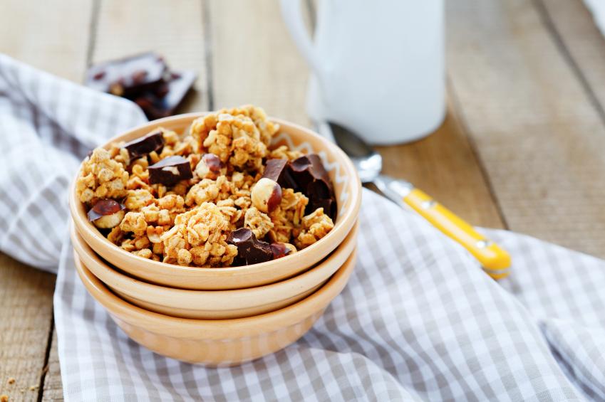 bowl of granola with chocolate chunks