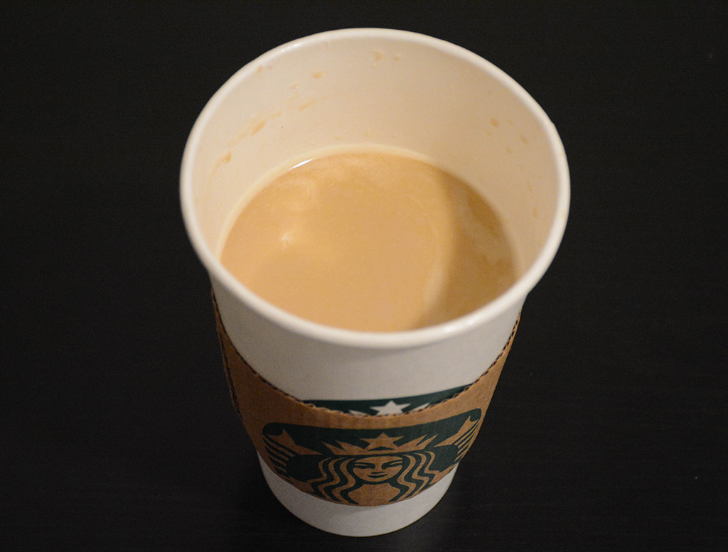 tasting a small smoked buttersctoch latte from starbucks