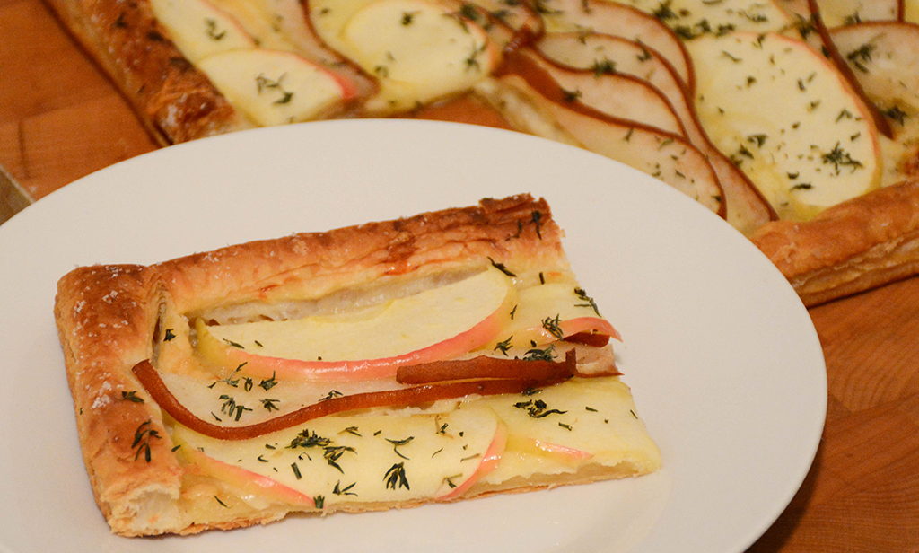 slice of cheddar, apple, and pear tart
