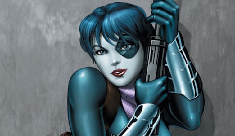 Domino clutching a gun and posing