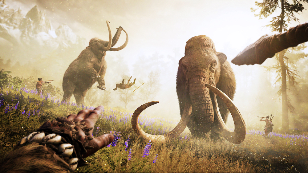 Cave man hunts a woolly mammoth in Ubisoft's Far Cry Primal