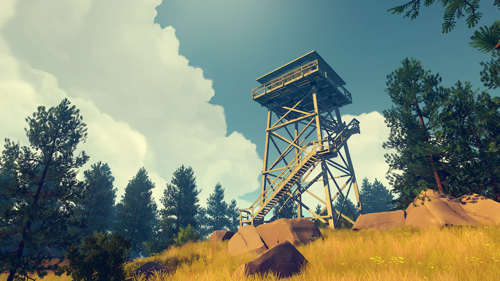 Fire watchtower in Firewatch, a game by Campo Santo