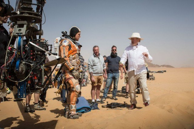 Director and producer Ridley Scott and Matt Damon on the set of 'The Martian'