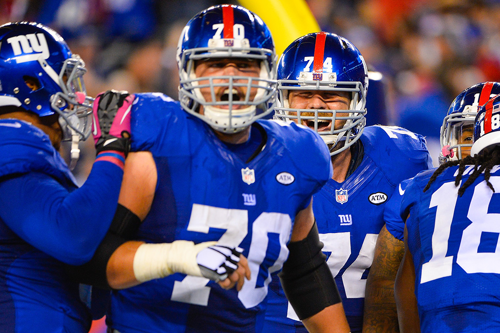 Geoff Schwartz of the NY Giants playing the San Francisco 49ers