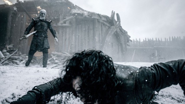 "Jon Snow (Kit Harington) and a white walker in a scene from the Game of Thrones episode ""Hardhome"""