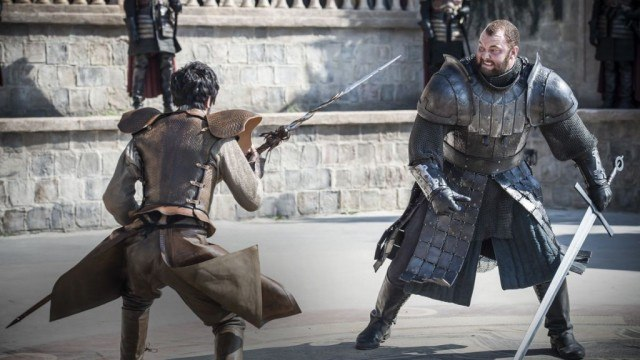 "Oberyn Martell (Pedro Pascal) and Gregor Clegane (Hafþór Júlíus Björnsson) in a scene from the Game of Thrones episode ""The Mountain and the Viper"""