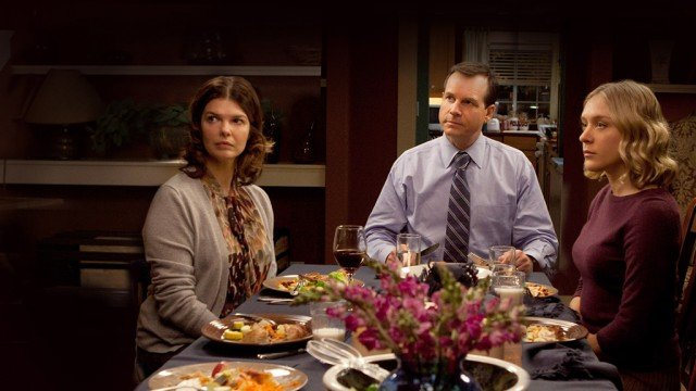 Jeanne Tripplehorn, Bill Paxton, and Chloe Sevigny in a scene from the polygamist drama 'Big Love', HBO shows