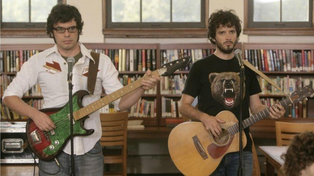 Jemaine Clement and Bret McKenzie in a scene from HBO's irreverent comedy, 'Flight of the Conchords'