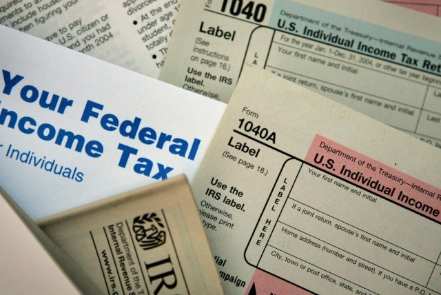 photo illustration of tax forms