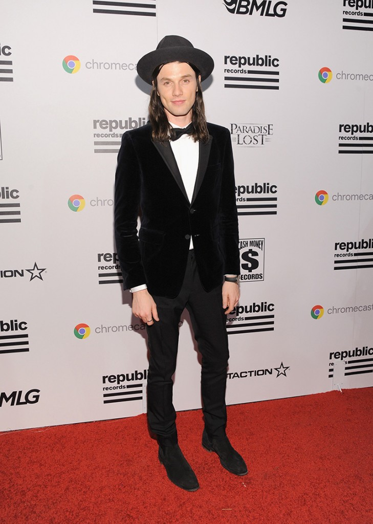 James Bay wearing a black suit at the 2016 Grammy Awards