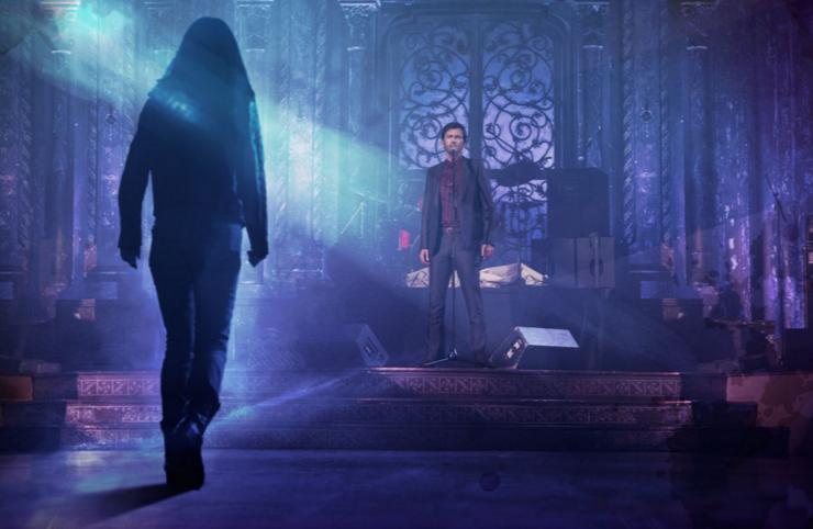 Jessica Jones, walking toward Killgrave in a church, set to a purple background