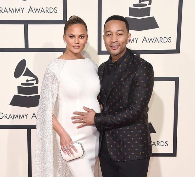 John Legend and Chrissy Teigen at the 2016 Grammy awards