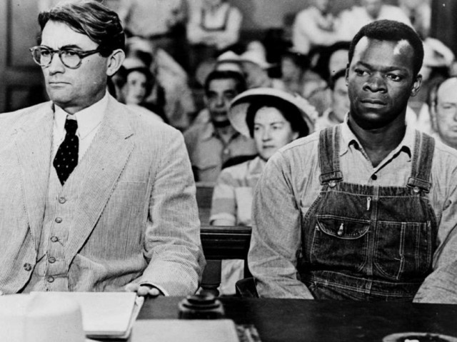 Atticus Finch (Gregory Peck) and Tom Robinson (Brock Peters) in a scene from 'To Kill a Mockingbird'