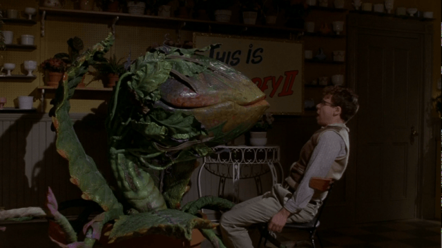 The friendly-but-frightening plant, Audrey in a scene from 'Little Shop of Horrors'