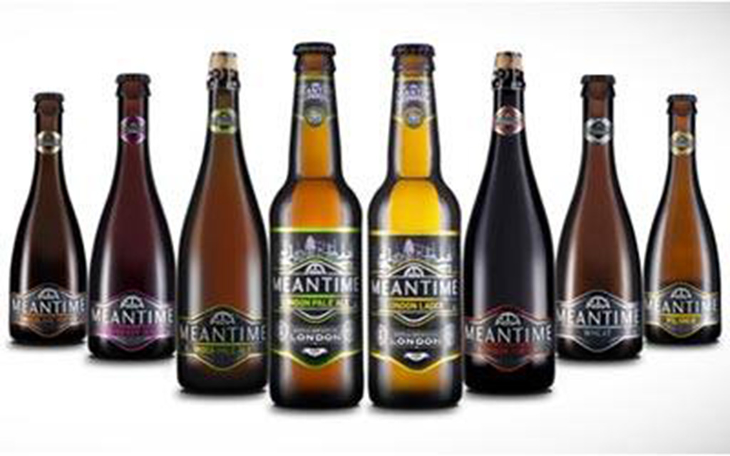 lineup of beers from Meantime Brewing Company