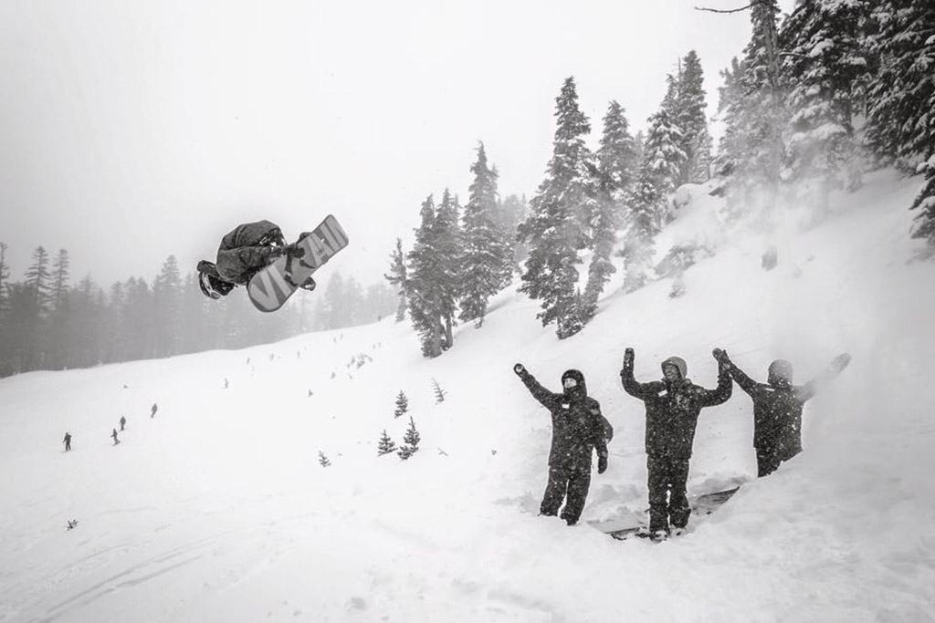 snowboarder and an audience at Mammoth Mountain in California