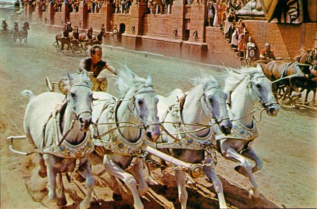 Ben-Hur on a chariot pulled by horses in Ben-Hur.