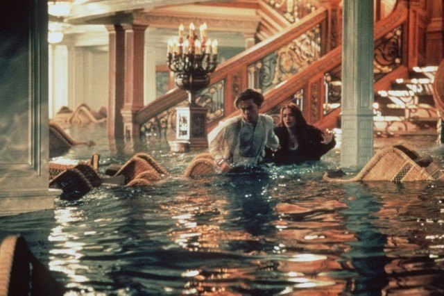 Leonardo DiCaprio and Kate Winslet in a scene from the Oscar-winning film 'Titanic'