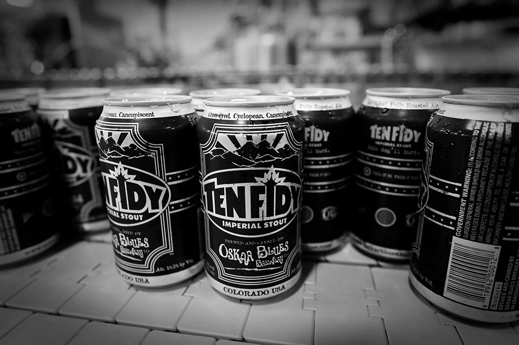 cans of Ten Fidy stout from Oskar Blues Brewery