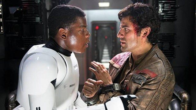 Poe and Finn speaking to each other.