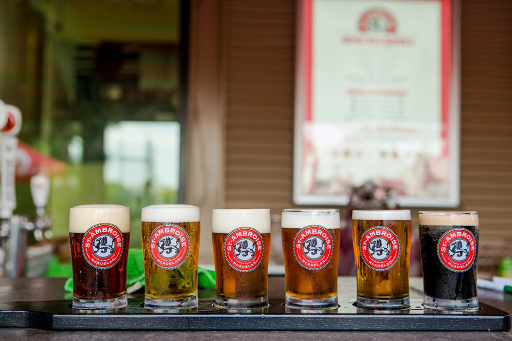tasting portions of St. Ambroise beers