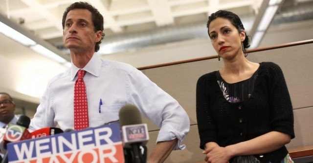 Disgraced politician Anthony Weiner and his wife, Huma Abedin, in a scene from the documentary 'Weiner'