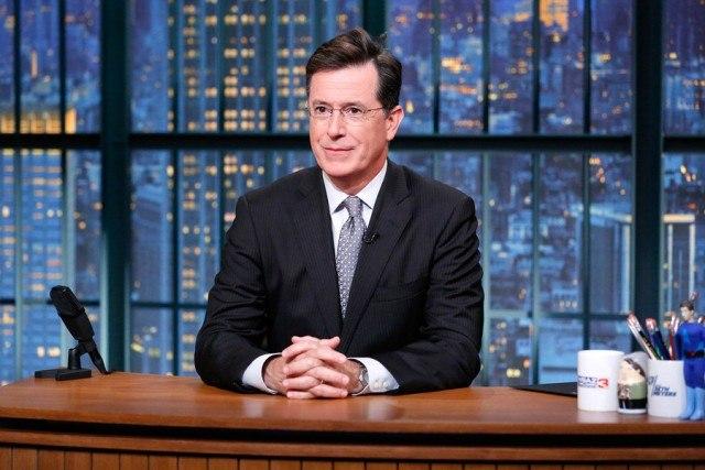 Stephen Colbert at desk
