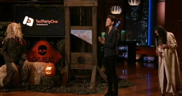 Melissa Carbone presenting ten thirty one productions on Shark Tank.