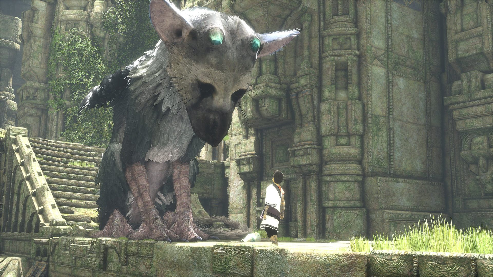 A boy and his bird dog in The Last Guardian.