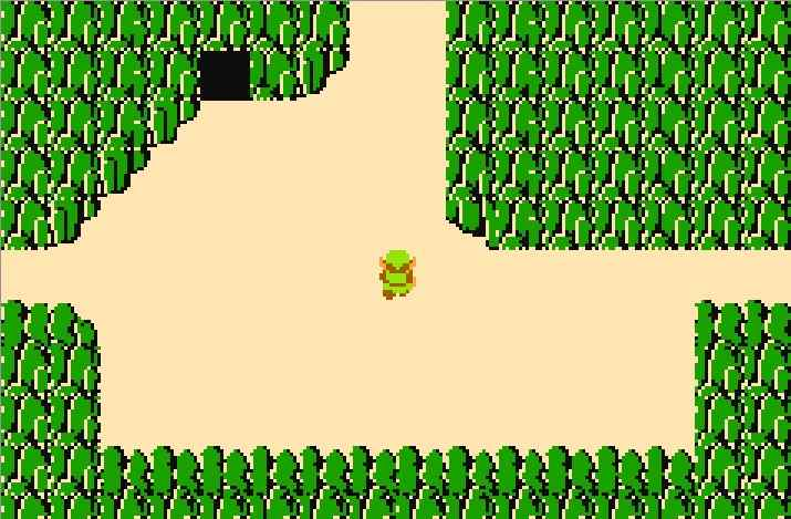The first screen of The Legend of Zelda