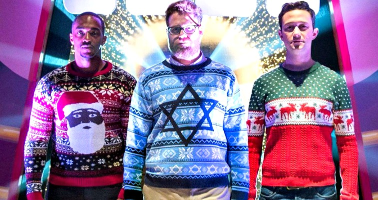 The cast of The Night Before wearing Tipsy Elves sweaters.