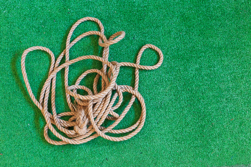 tangled rope on the playing field