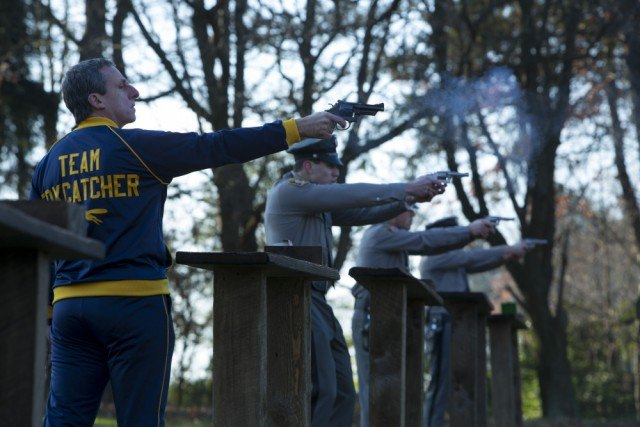 A nearly unrecognizable Steve Carell as John E. duPont in the true crime drama 'Foxcatcher'
