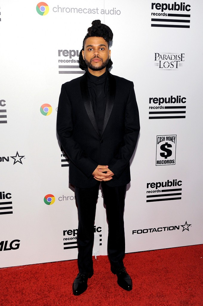 The Weeknd in a  all-black getup at the 2016 Grammy Awards
